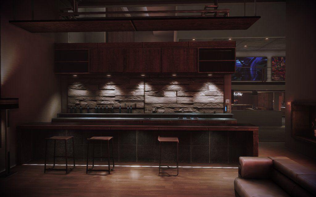 Mass Effect 3 Citadel Apartment Secondary Living Room Bar