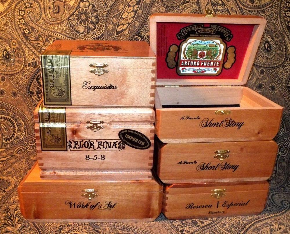 6 Arturo Fuente Wooden Cigar Boxes Purses Crafts Hobbies Storage