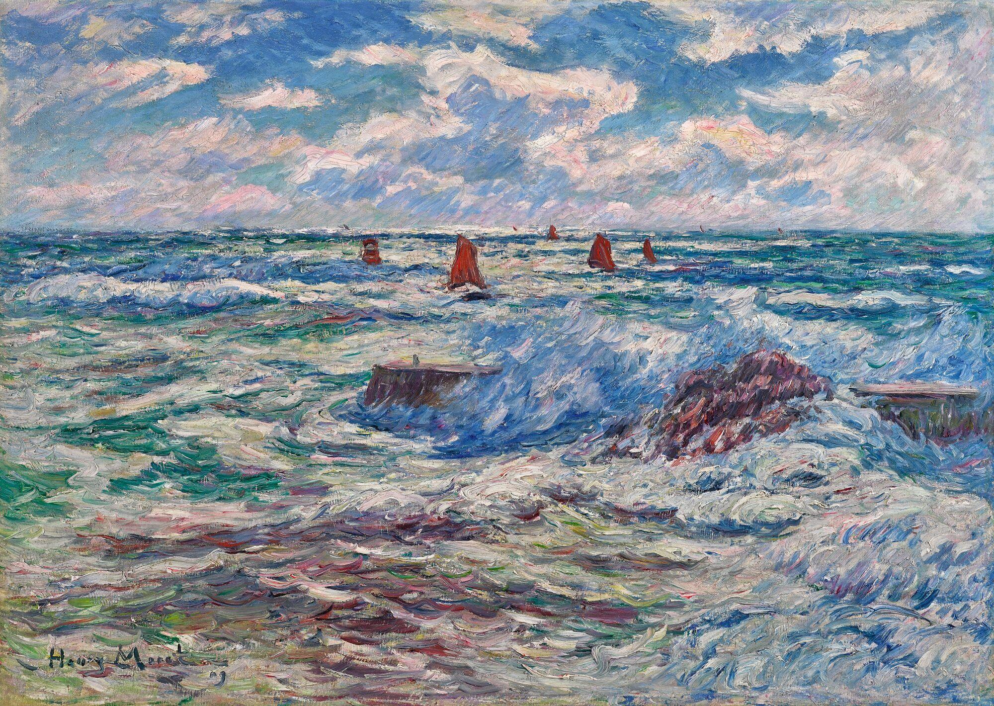 Gros Oeuvre Quimper henry moret - 1856 - 1913 - gros temps À doËlan, bretagne