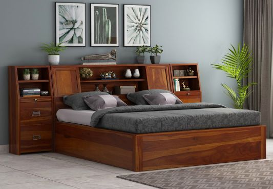 Best Harley Hydraulic Bed With Bedside King Size Honey Finish 640 x 480