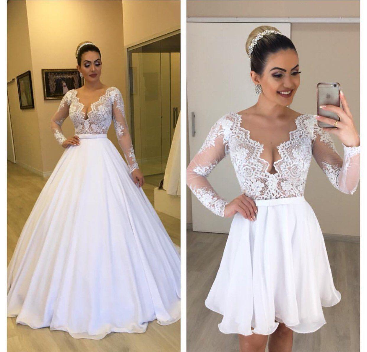 Detachable Skirt Wedding Dresses 2019 Long Sleeve Lace