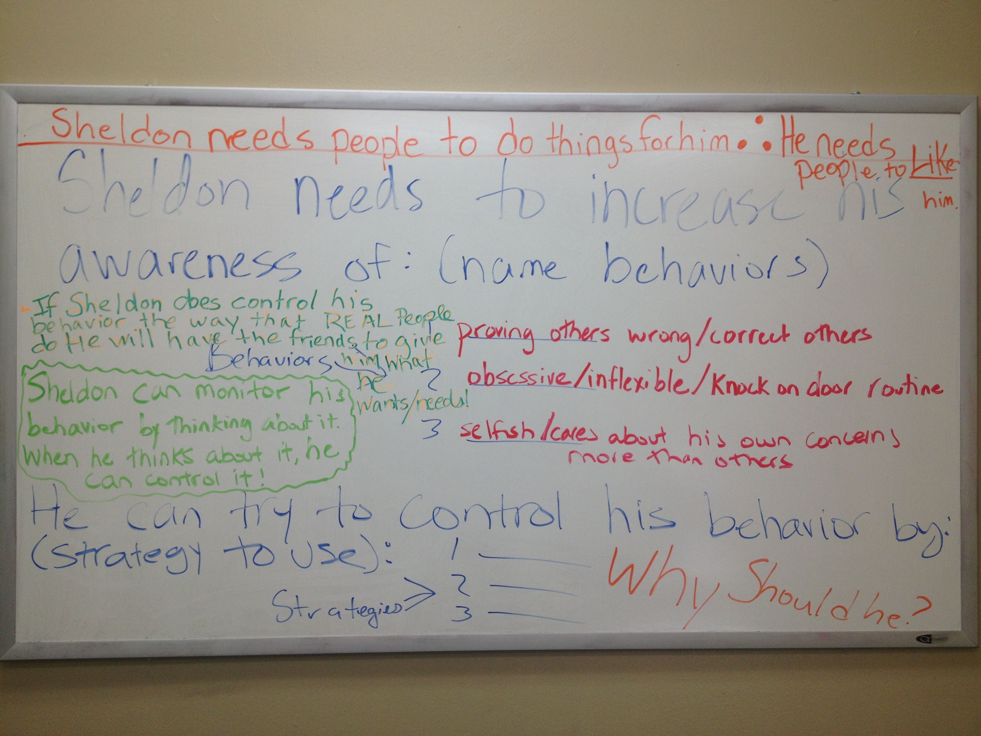 White Board Notes From Social Thinking Group Lesson