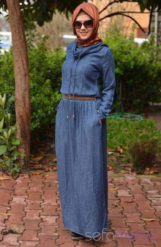 716779d8c31 Longue robe en jean femme