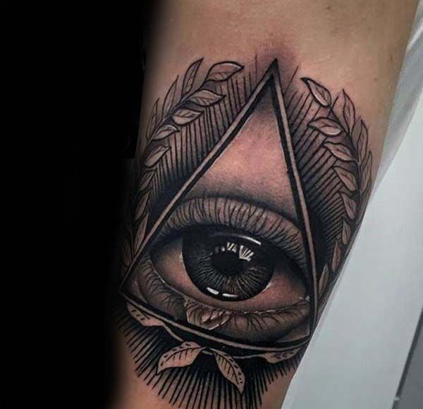 All Seeing Eye Olive Branch Triangle Mens Nice Inner Forearm Tattoo Tattoos For Guys Hand Tattoos Hand Tattoos For Guys