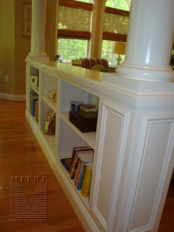 Half Wall Bookcases With Columns We Could Do This Our Entryway