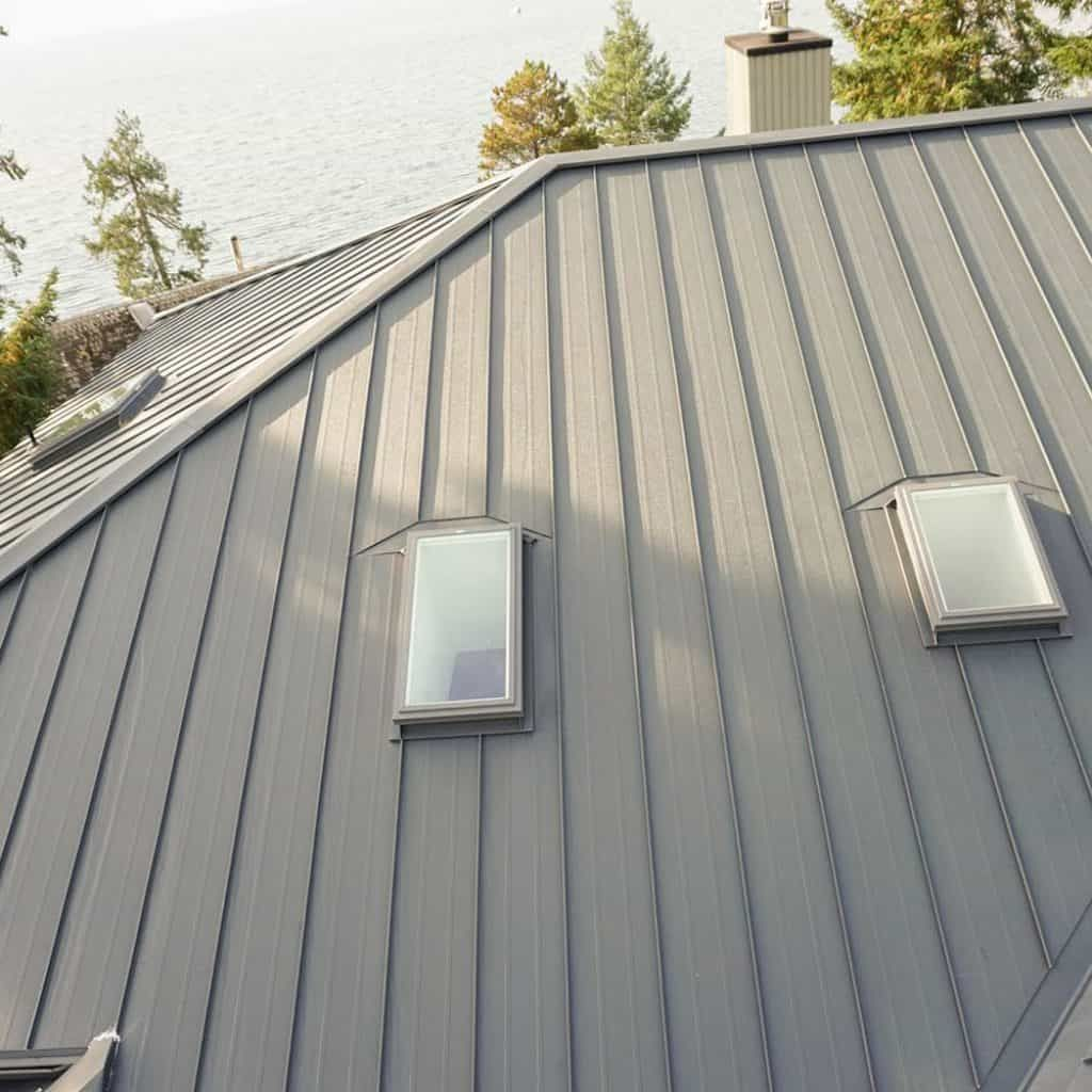 Interlock Standing Seam Roof Deep Charcoal Hip Valley Skylights Metal Roof Standing Seam House Paint Exterior
