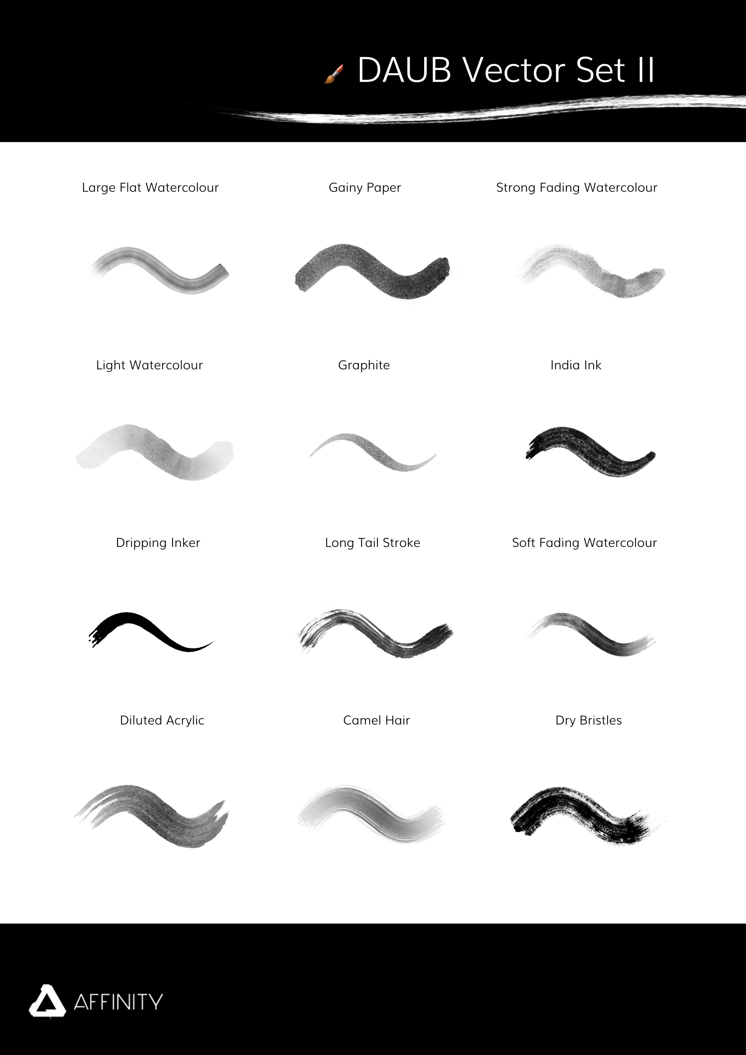 DAUB vector brush set for Afiinity Designer and Affinity Photo