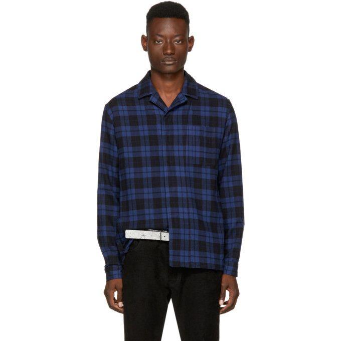HAIDER ACKERMANN Blue & Black Plaid Shirt. #haiderackermann #cloth #