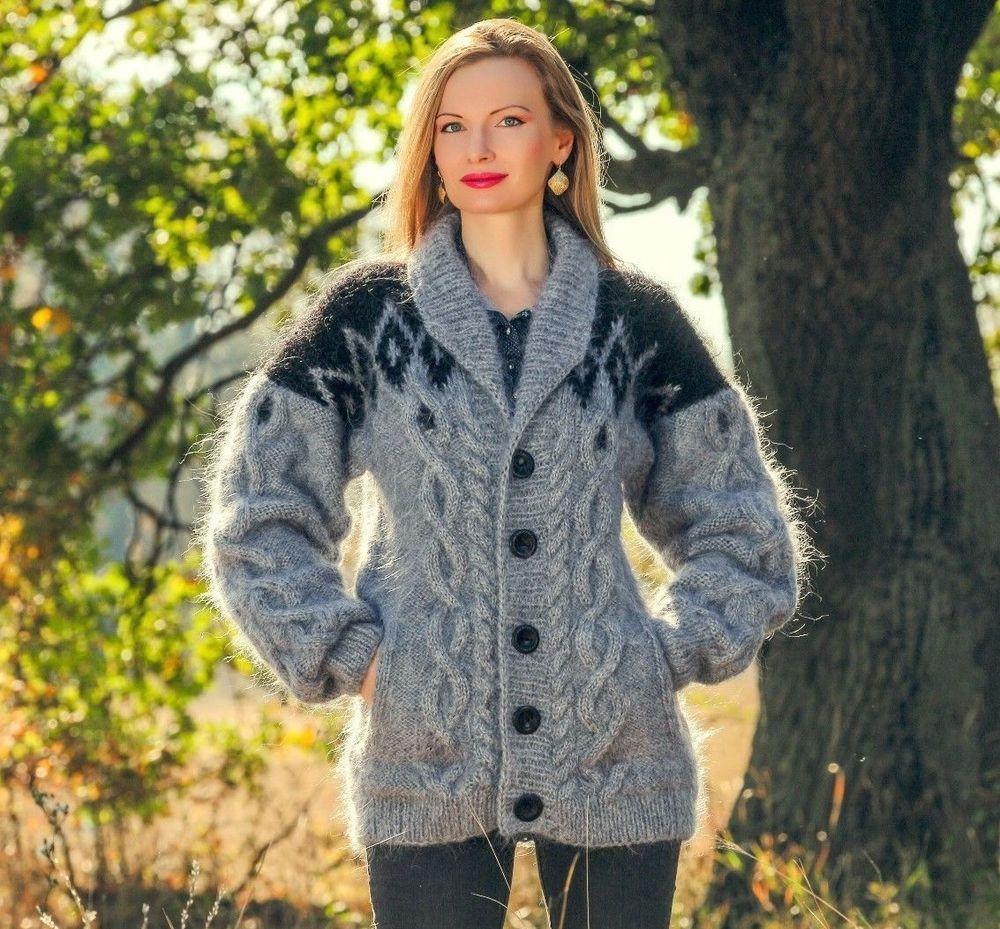 Black grey cable sweater Icelandic cardigan mens mohair Nordic ...