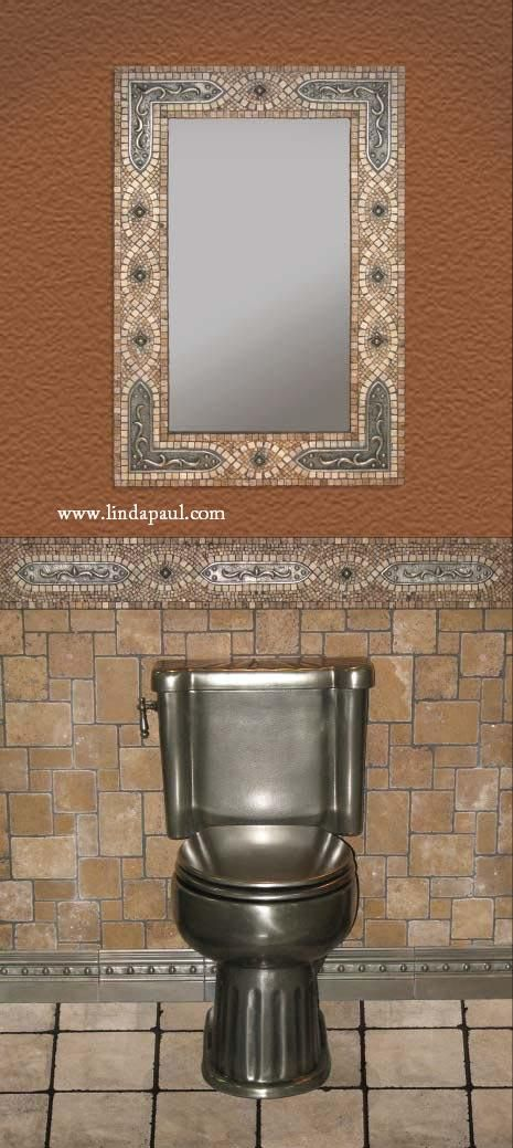 Ideas Mosaic Mirror Frame Usual Bathroom Decorating
