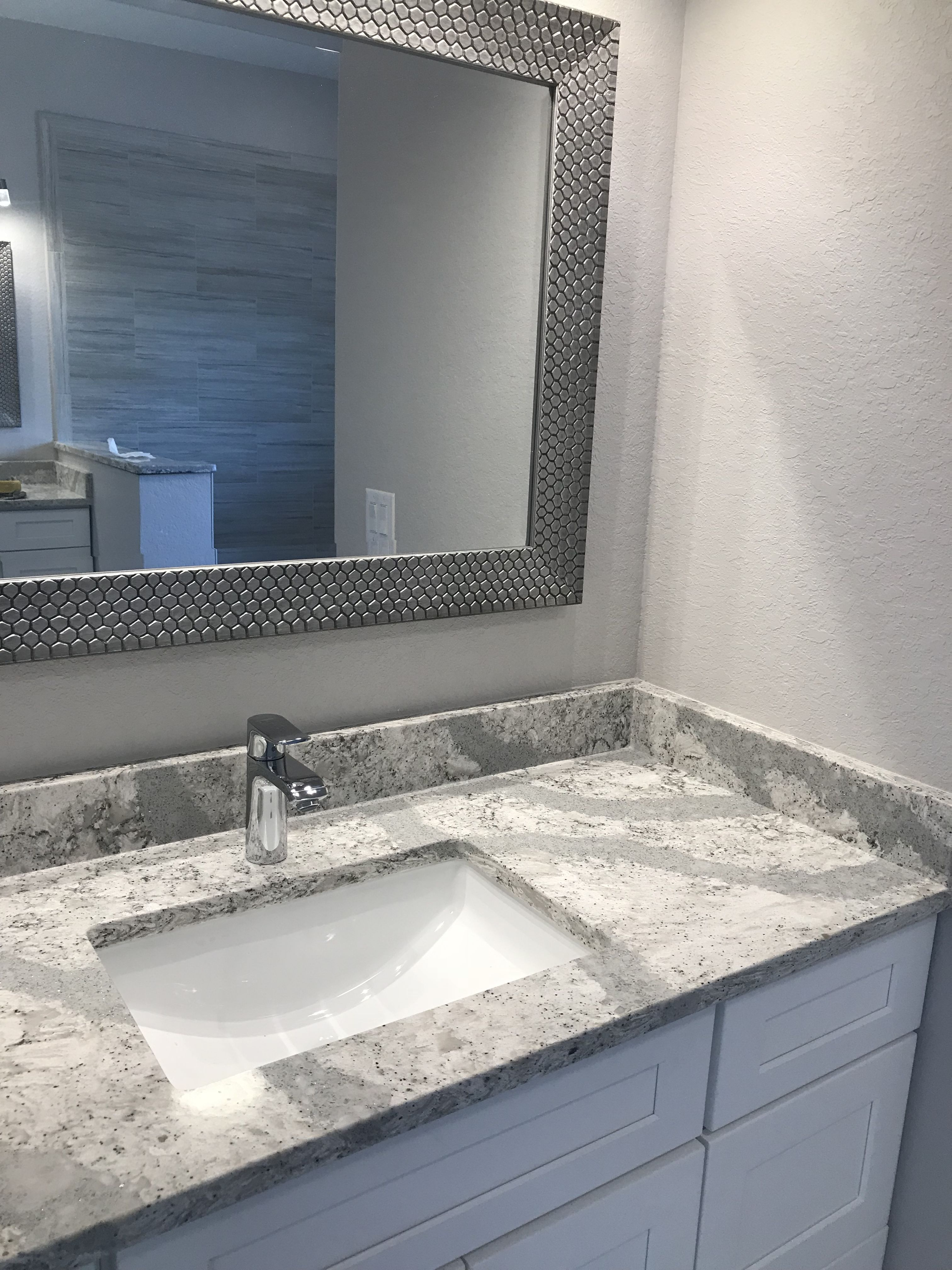 Cambria Summerhill With Frosted White Shaker Small Bathroom