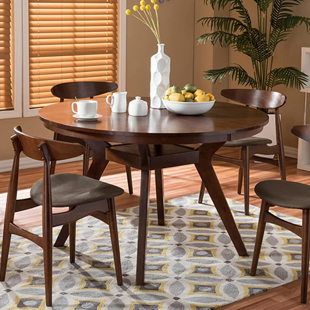 Baxton Studio Flamingo Mid-Century Dining Table & Chair 5-piece Set