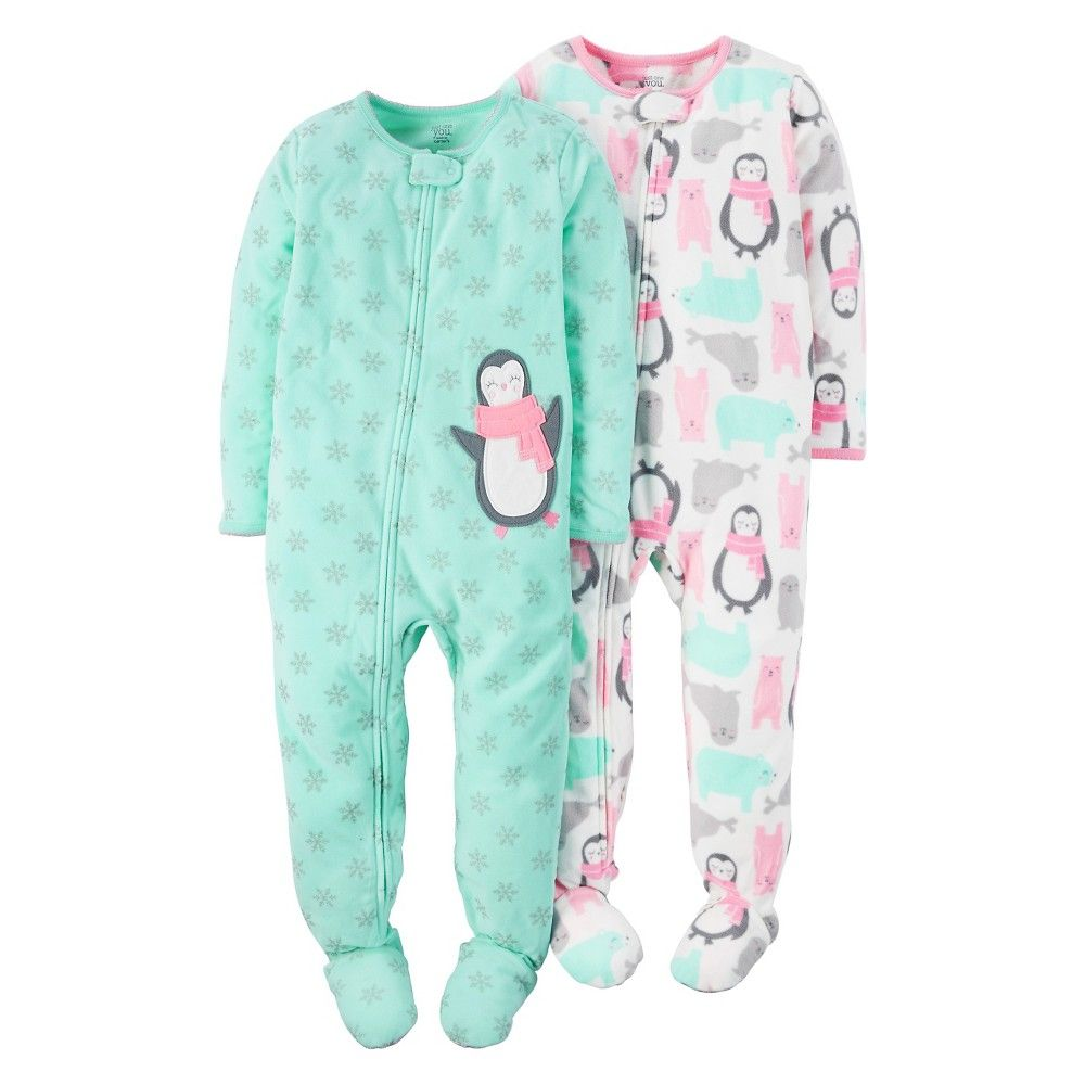 29838fd51034 Toddler Boys  1-Piece Fleece Pajamas 2-Pack Penguin Snowflake ...
