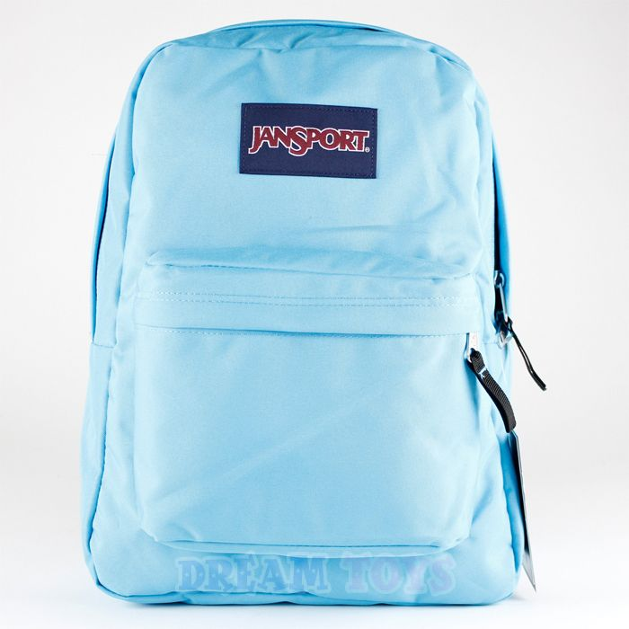 16' Large Jansport Superbreak Backpack - Light Blue Girls Boys ...