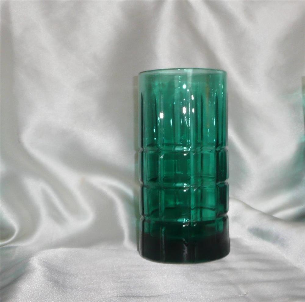 Anchor Hocking Tartan Teal Green Ice Tea Drinking Glasses Teal Green Iced Tea Drinking Glasses