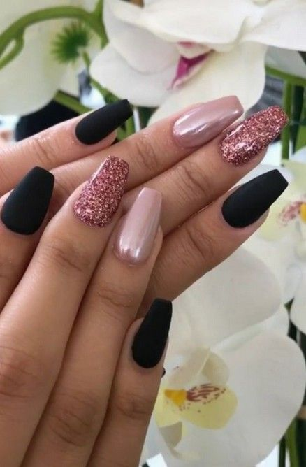 62 Best  Black Coffin Nails Design You May Crazy for It (Glitter Nails Matte Nails) #mattenails