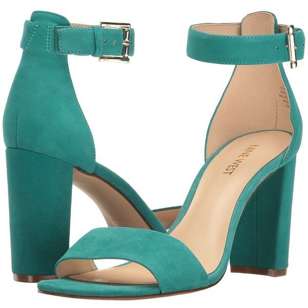4a8fd394b Nine West Nora (Dark Turquoise Suede) Women's Shoes ($89) ❤ liked on  Polyvore featuring shoes, heels, block heel shoes, turquoise shoes, leather  upper ...