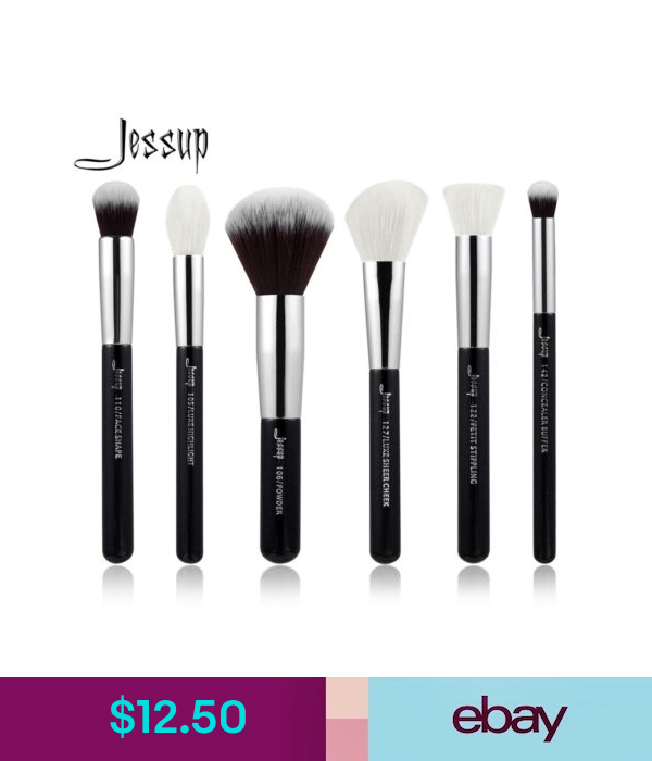 6Pcs Makeup Brushes Set Powder Blending Flat Tapered