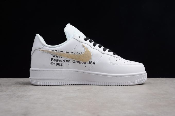 2018 OFF-WHITE x Nike Air Force 1 Low White Black Gold AA8152-700 in ... 83e67675e