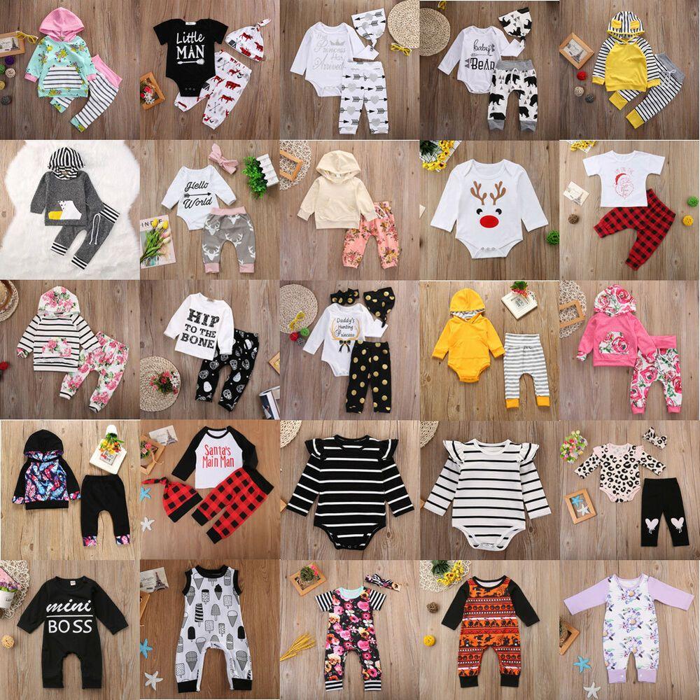 2pcs Newborn Toddler Infant Baby Boy Girl Clothes T-shirt Tops+Pants Outfits Set
