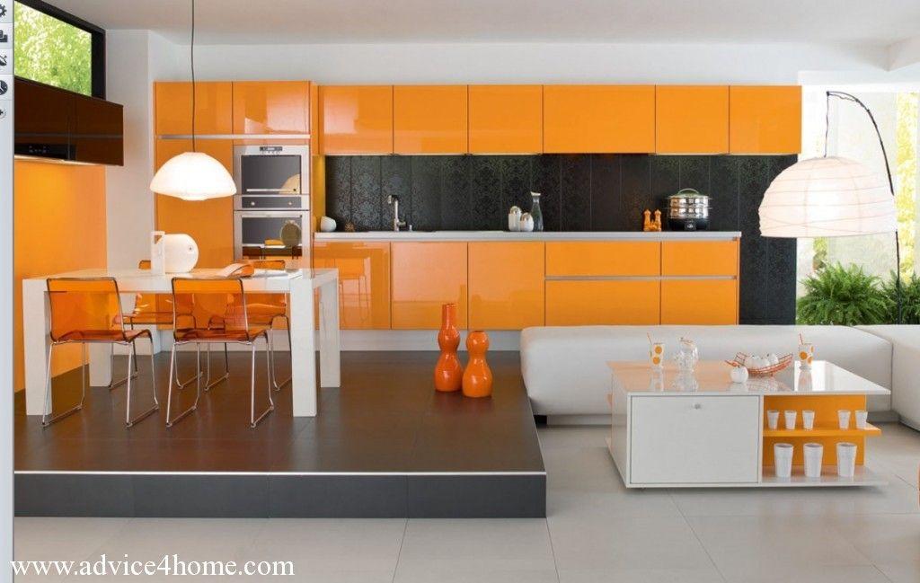 Orange Black Modular Kitchen Design With White Dining Table