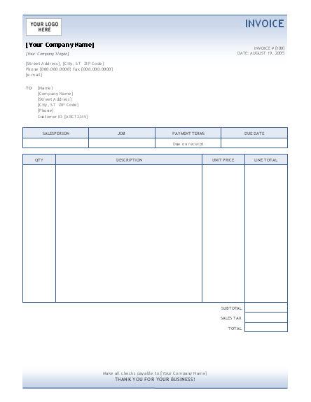 Sample Service Invoice Template  Office Templates