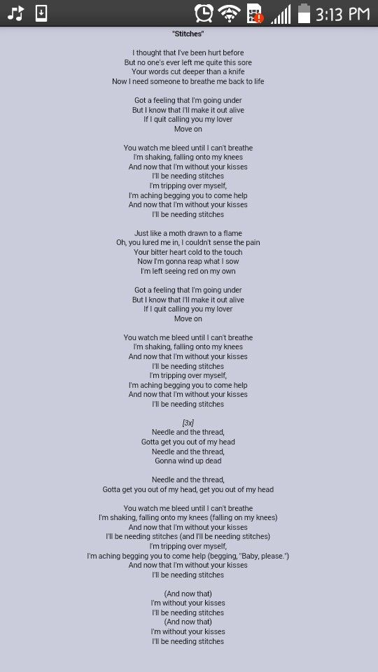 Shawn's new song Stitches lyrics! | Song Lyrics | Pinterest ...