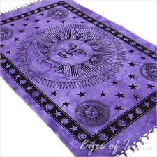 TWIN PURPLE INDIAN SUN BEDSPREAD TAPESTRY COVERLET WALL HANGING Ethnic Decor Art