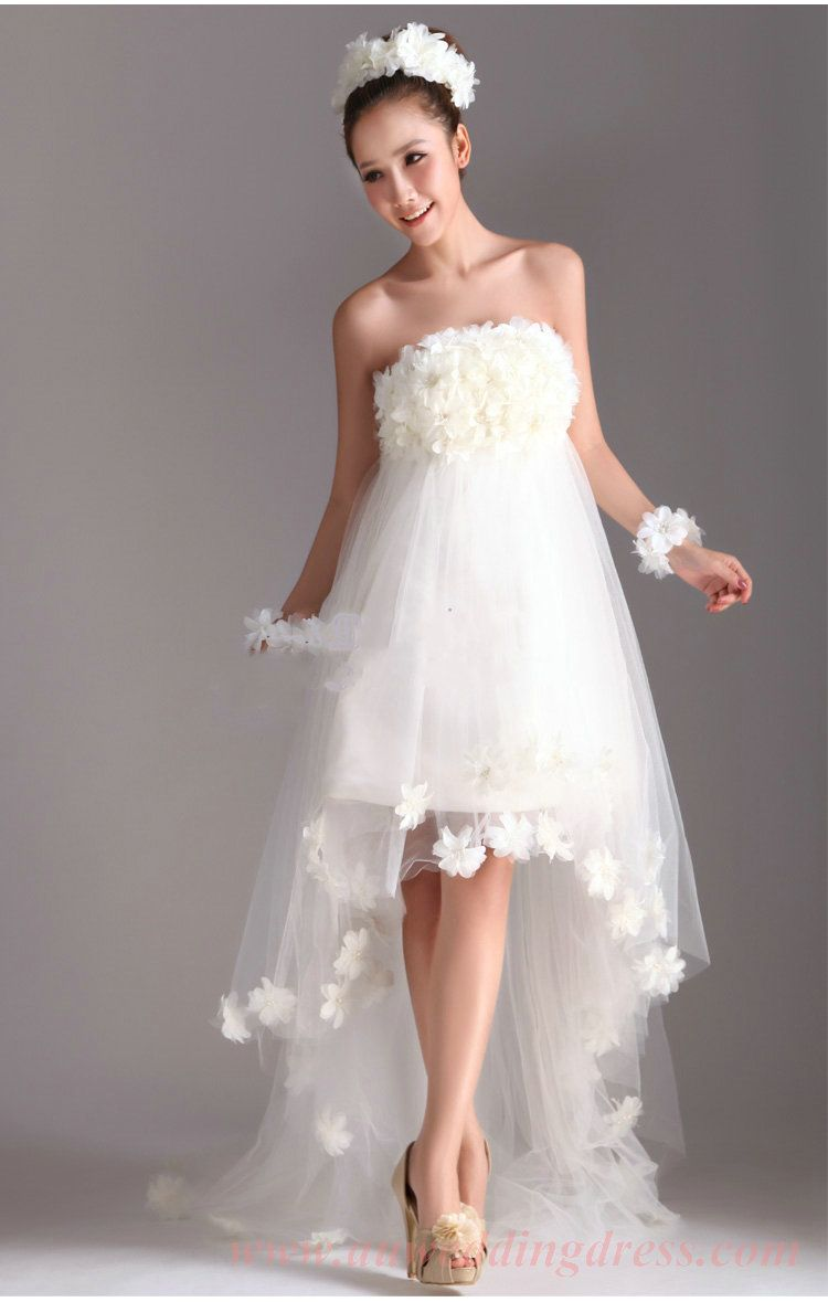 Handmade flowers trimmed high low strapless princess wedding dress