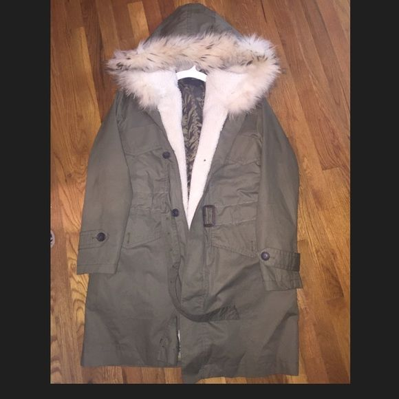 Kai-aakmann Men's Parka Men's Kai-aakmann Parka with fur hood. Originally purchased from Gilt worn once. Interior is removeable and jacket can be works as a trench. Fur around the hood is removeable as well. Kai-aakmann  Jackets & Coats Trench Coats