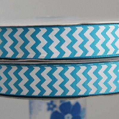 "7/8"" Turquoise chevron grosgrain ribbon 100yards"