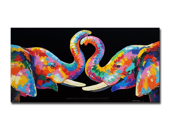 48 x 98 cm  peinture  u00e0 l u2019 u00e9l u00e9phant  d u00e9coration murale
