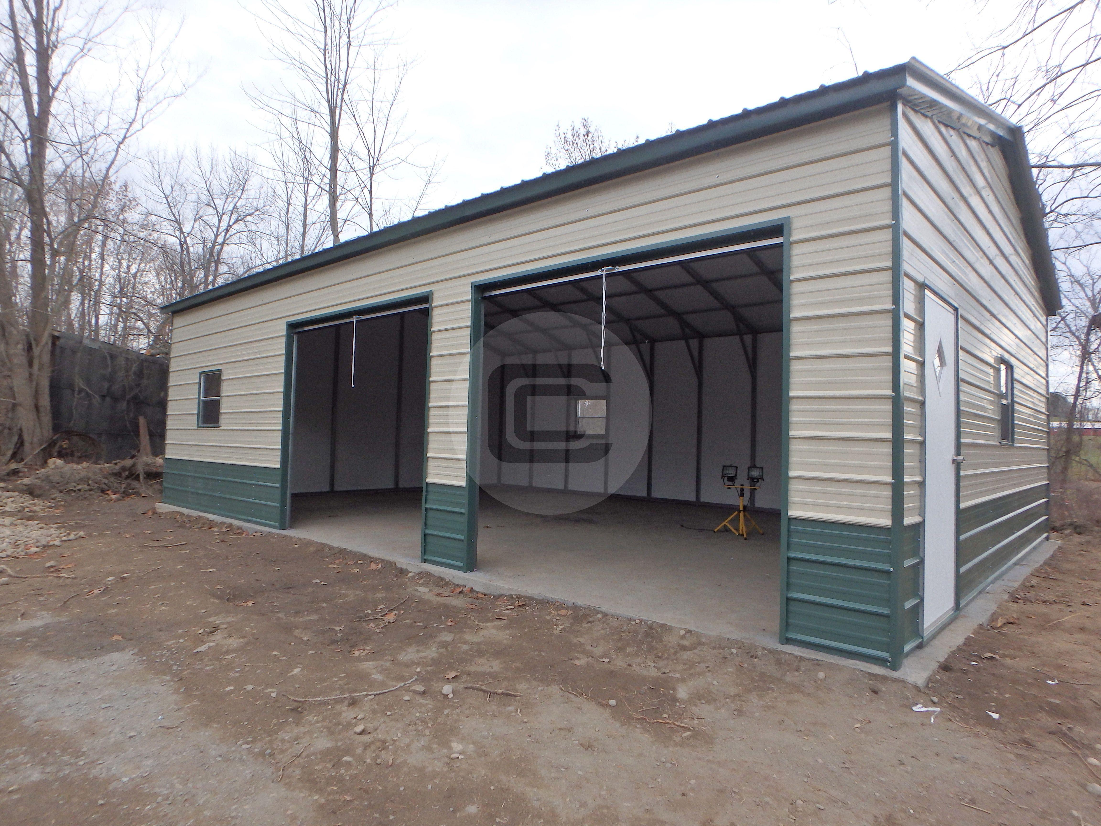 Side Entry Metal Garage With 2 Garage Doors 1 Man Door