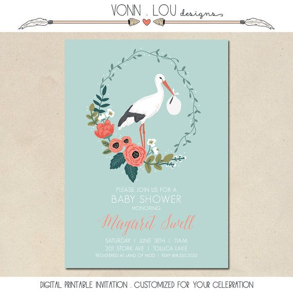 Baby shower invitation stork and flowers by vonnloudesigns animal baby shower invitation stork and flowers by vonnloudesigns animal pinterest shower invitations birth and babies filmwisefo