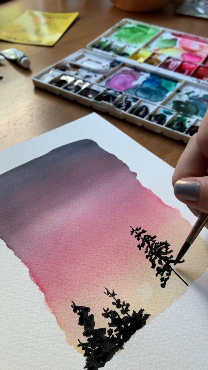 Coucher de soleil aquarelle 🌅 # aquarelle # coucher de soleil