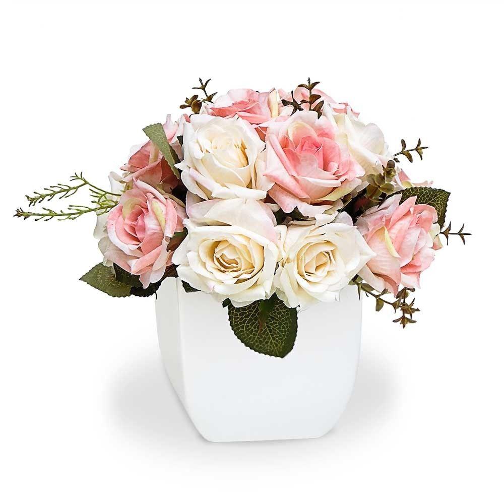 Arranjo De Flores Artificiais Rosas Mistas Cachepot Branco