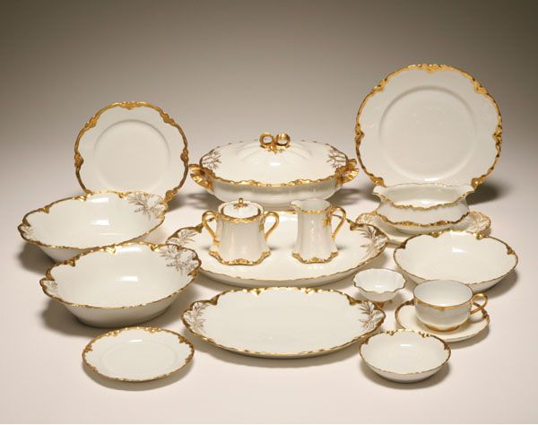antique dishes | Haviland antique china dinner service in the Wheat pattern with gilt . & antique dishes | Haviland antique china dinner service in the Wheat ...