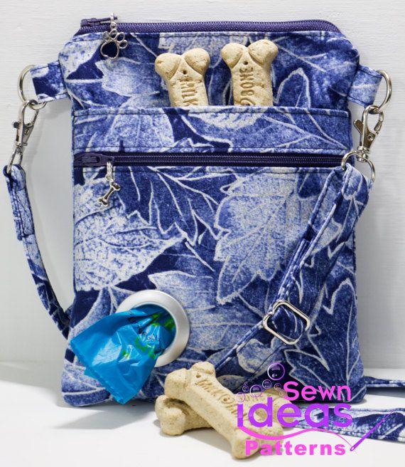 Slim Cross body Dog Walking Bag PDF sewing pattern, Dog treat bag ...