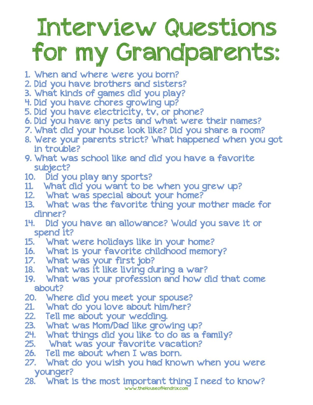interview with grandparent When you download this product, you will receive a grandparents day interview.