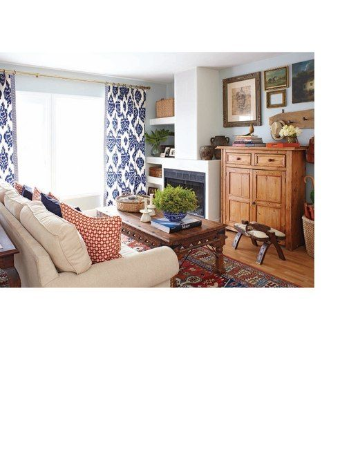 Exampled Of Busy Patterned Curtains With A Busy Rug Living Room