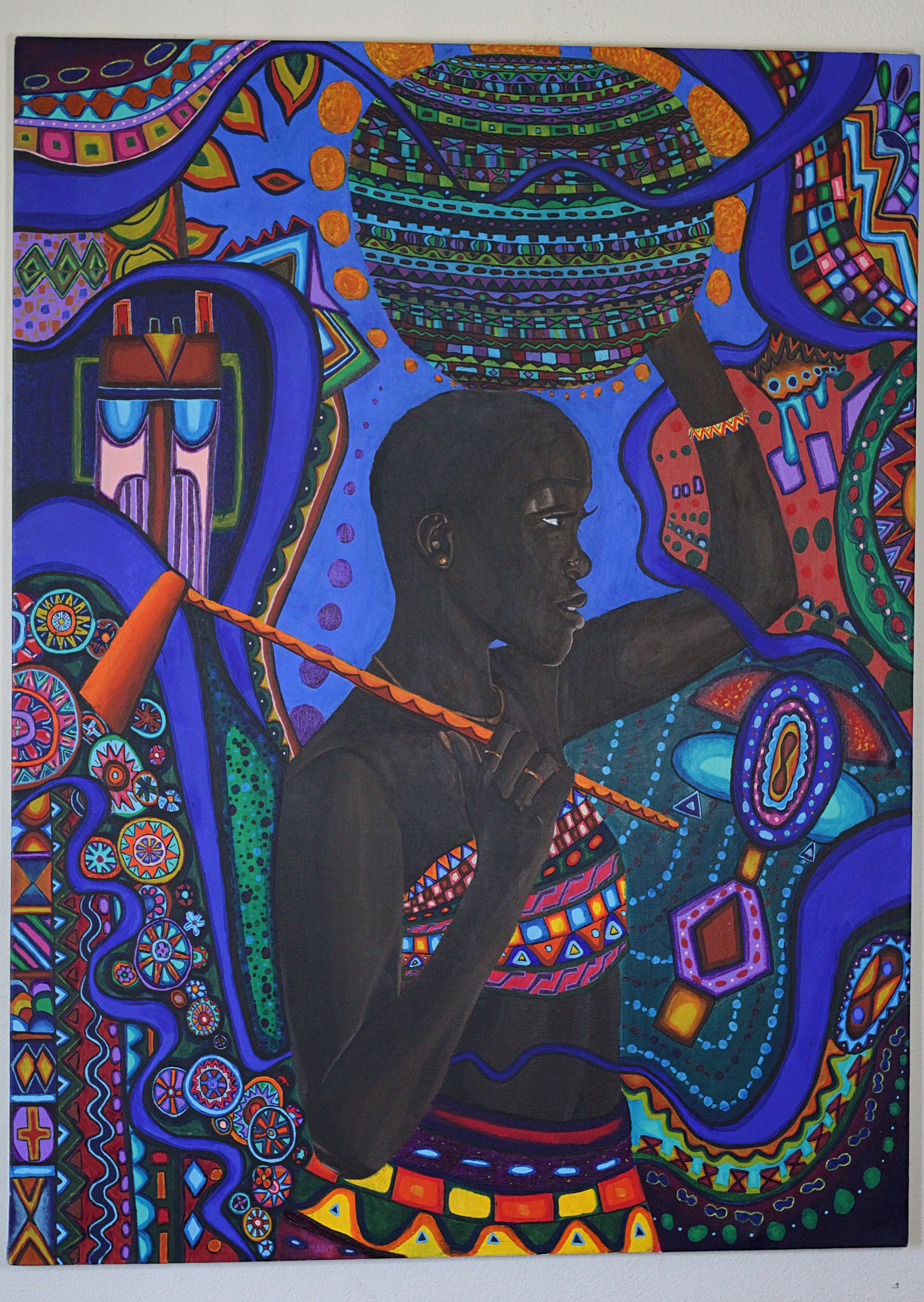 Painting Of An African Woman With African Pattern Design