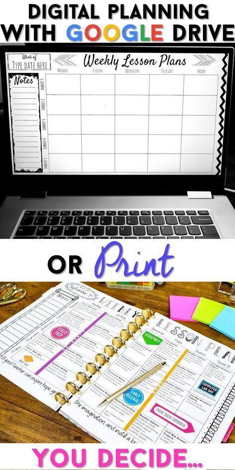 Teacher Binder   Print & Digital Teacher Planner 2019-2020 FREE Updates -