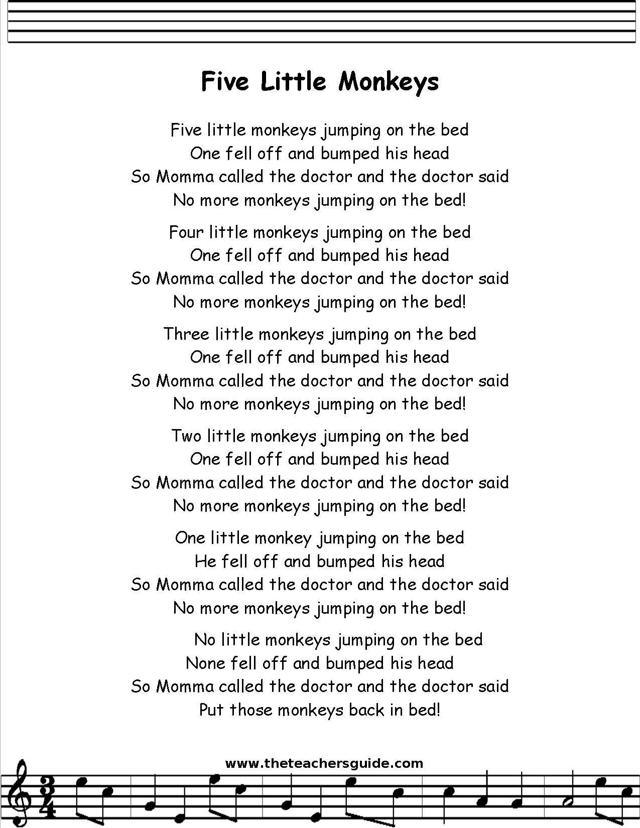 Five Little Monkeys Lyrics Printout