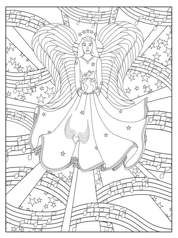 "Printable Adult Coloring Page Digital Download, ""Guardian Angel"", A ..."