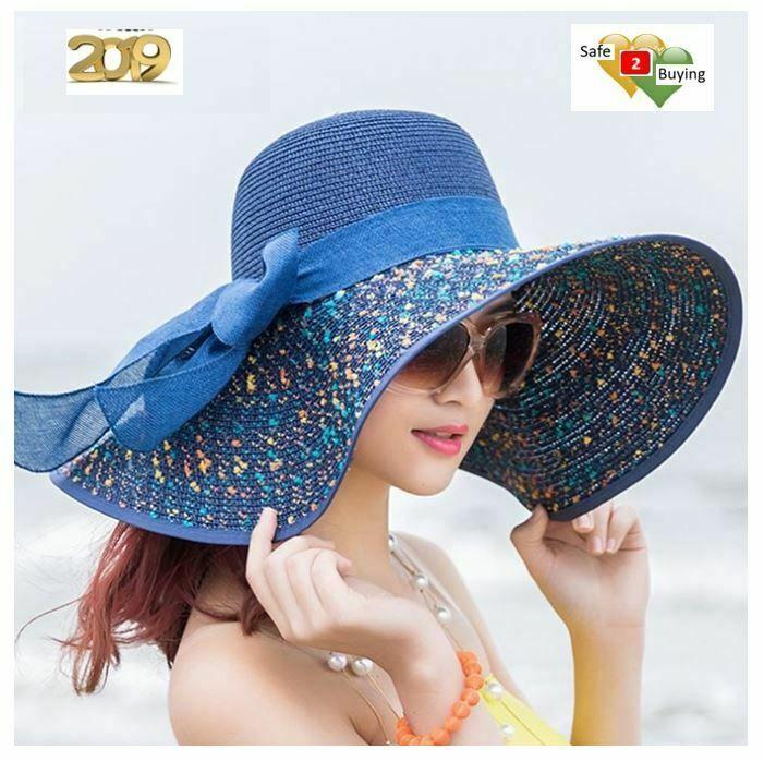 805fe7500b66a8 Women Wide Large Brim Straw Hat Floppy Foldable Roll Cap Beach UV Sun  Protect #BINGYUANHAOXUAN #Floppy