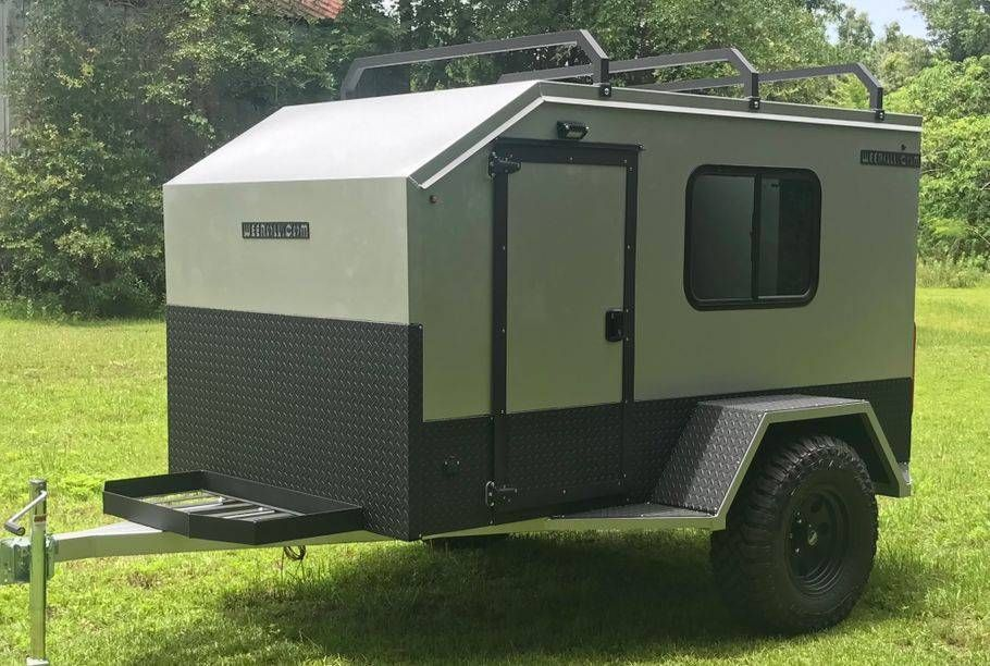 Maybe Get A Small Pull Behind Camper That Acts As The Bathroom Add Toilet And Shower Teardrop Camper Trailer Expedition Trailer Small Camping Trailer