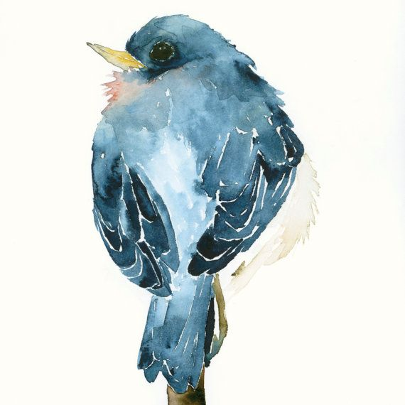 Watercolor Birds Artwork Little Blue Bird