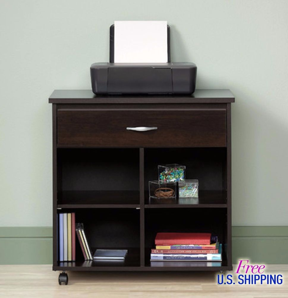 Wooden Utility Cart Printer Stand Office Storage Table Scanner ...
