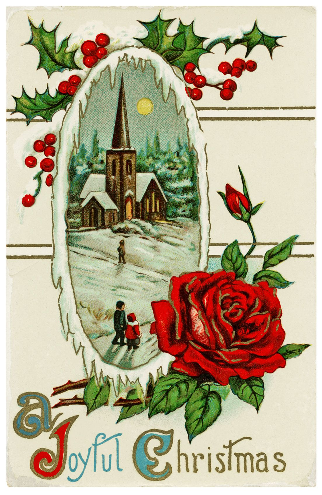 Old Design Shop Free Printable Vintage Postcard A Joyful Christmas