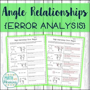 Angle Relationships Error Analysis - CCSS 7GB5 Aligned